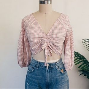 J.O.A Pink Gingham Puff Sleeve Top